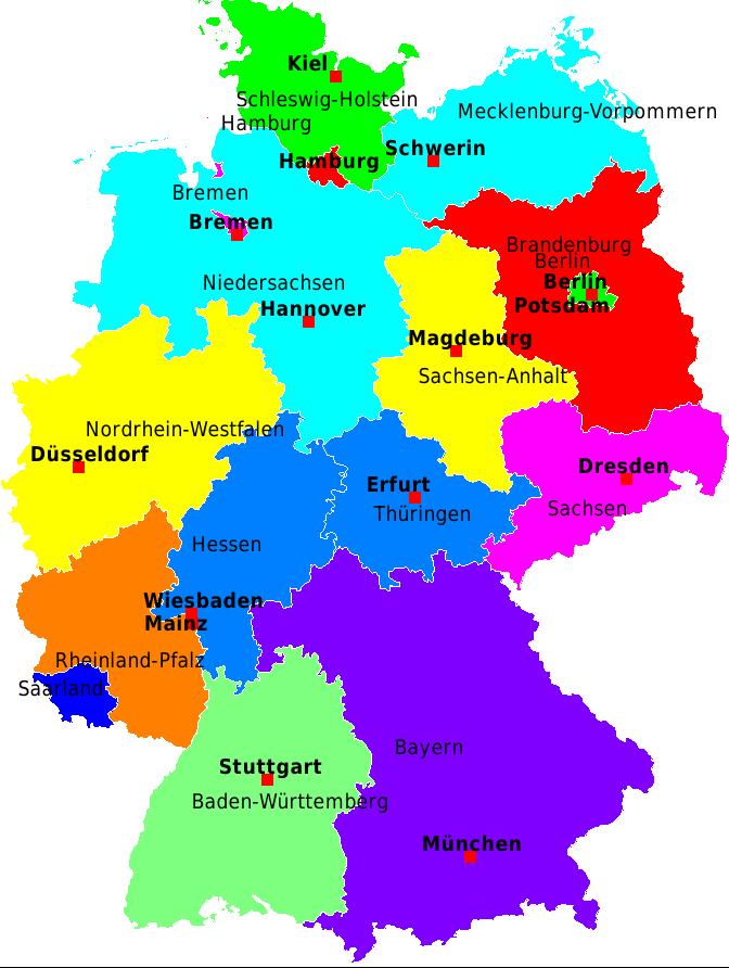 deutschland karte bundesländer mit hauptstädten Deutschland Karte Bundesländer Und Hauptstadt   Deutsch   Viel Spass