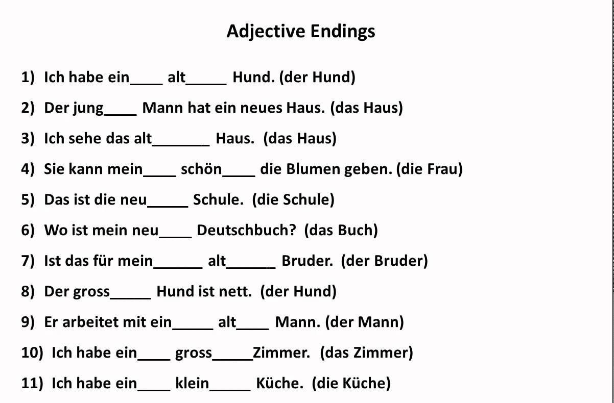 dwfg3 - Adjektivendungen