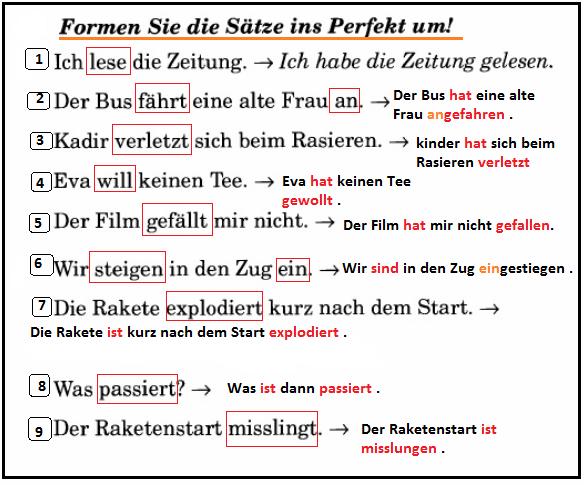 drtfzgđ - Formen Sie die Sätze ins Perfekt um!