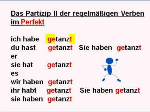 rdftzgđ - Das Partizip II der regelmäßigen Verben im Perfekt