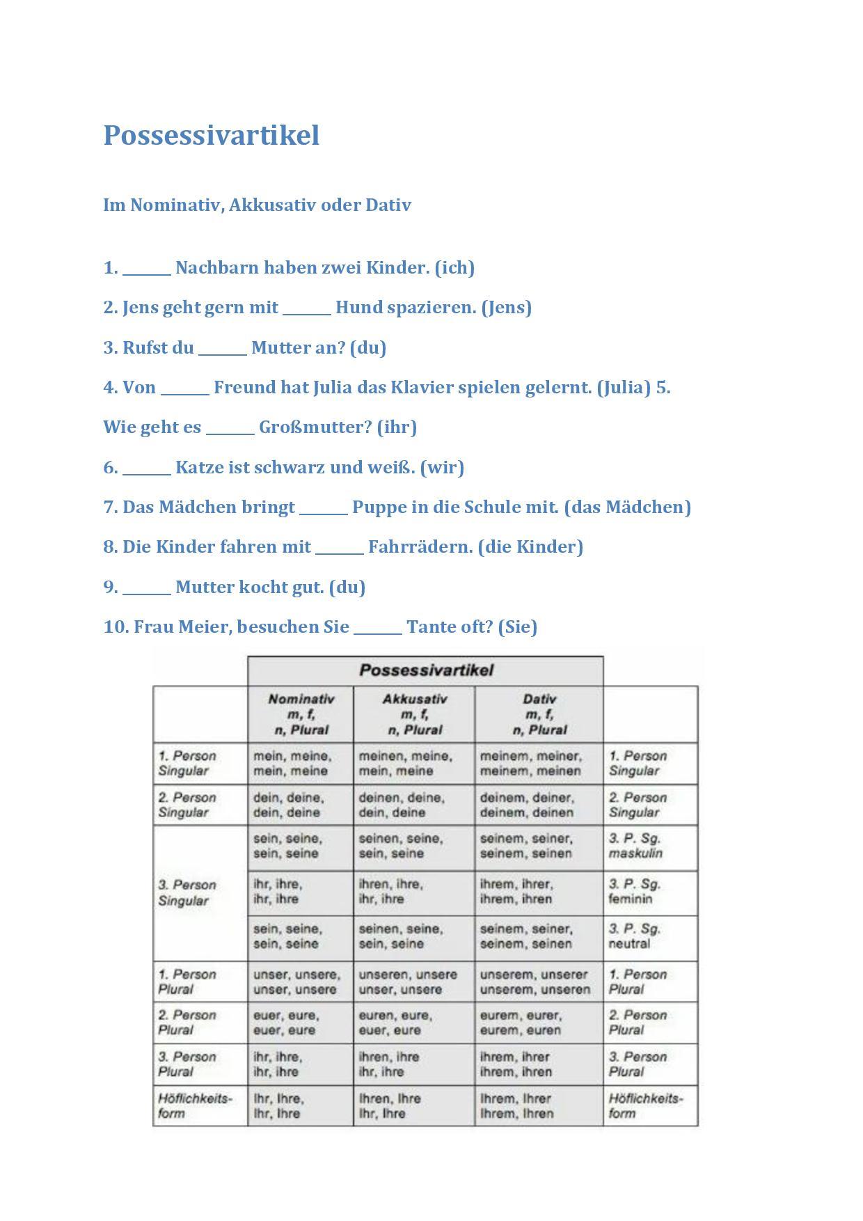 12 - Im Nominativ, Akkusativ oder Dativ