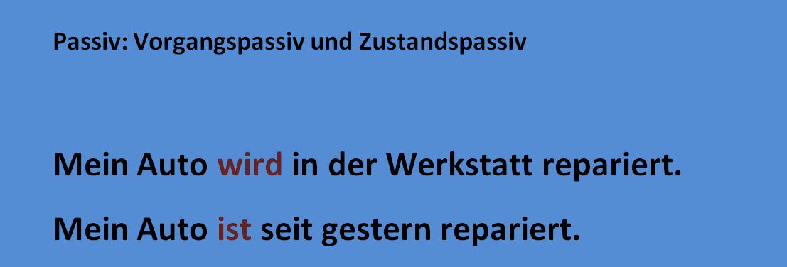 ztufvzgbh - Passiv: Vorgangspassiv und Zustandspassiv