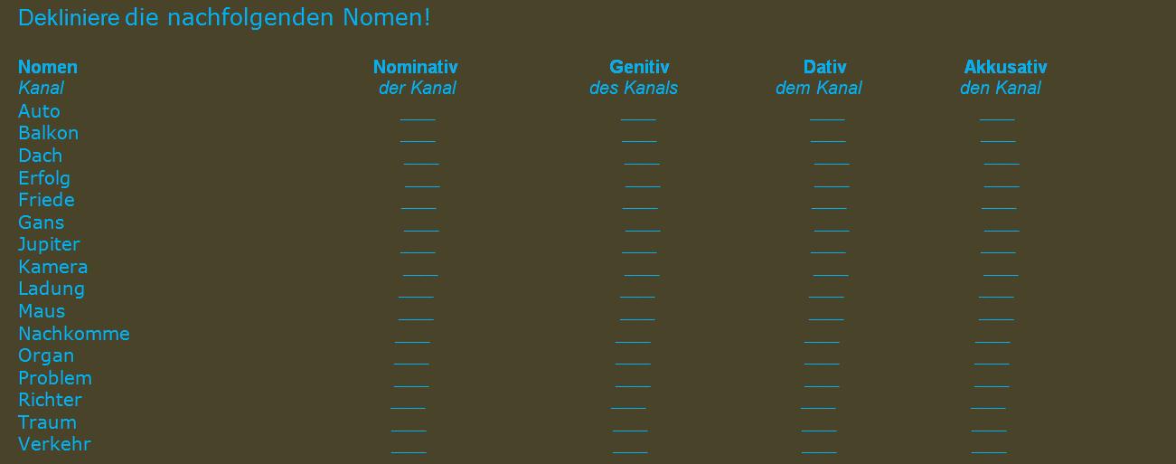 ftuziguo - Dekliniere die nachfolgenden Nomen!