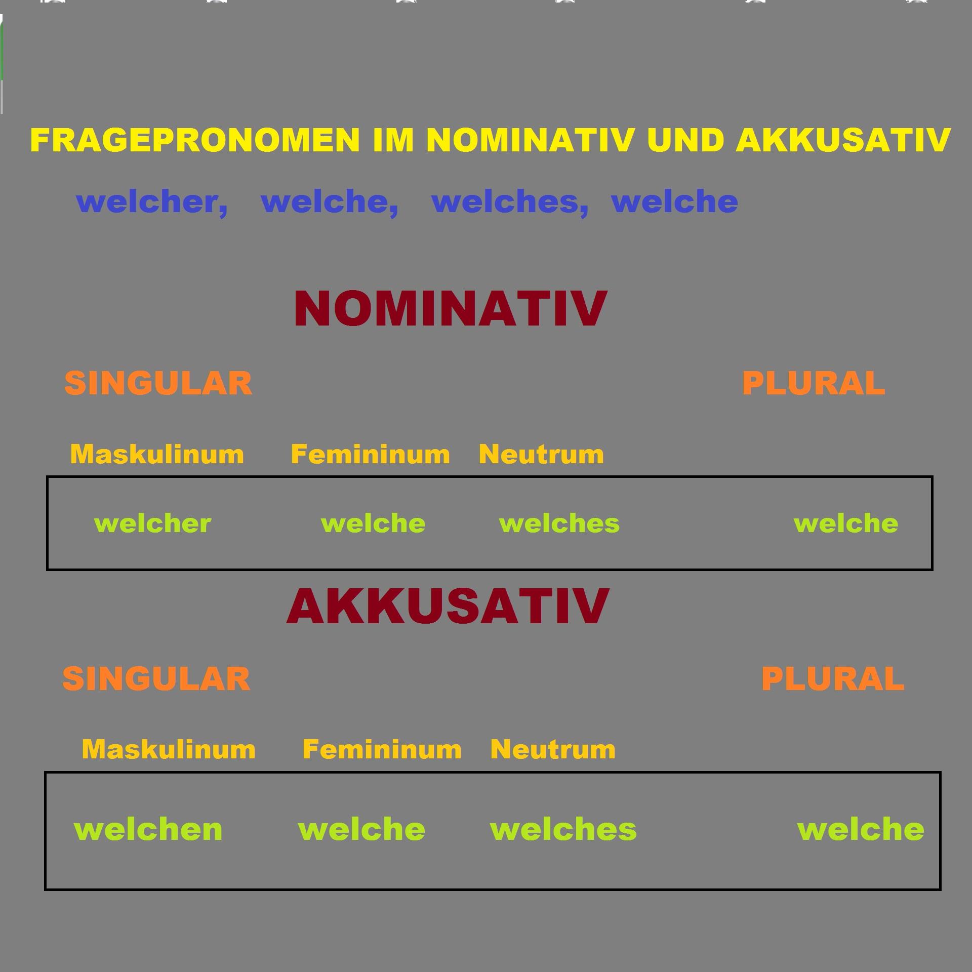 fwef - Fragepronomen im NOMINATIV UND AKKUSATIV