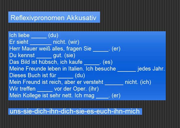 klugfzt - Refleksivpronomen Akkusativ