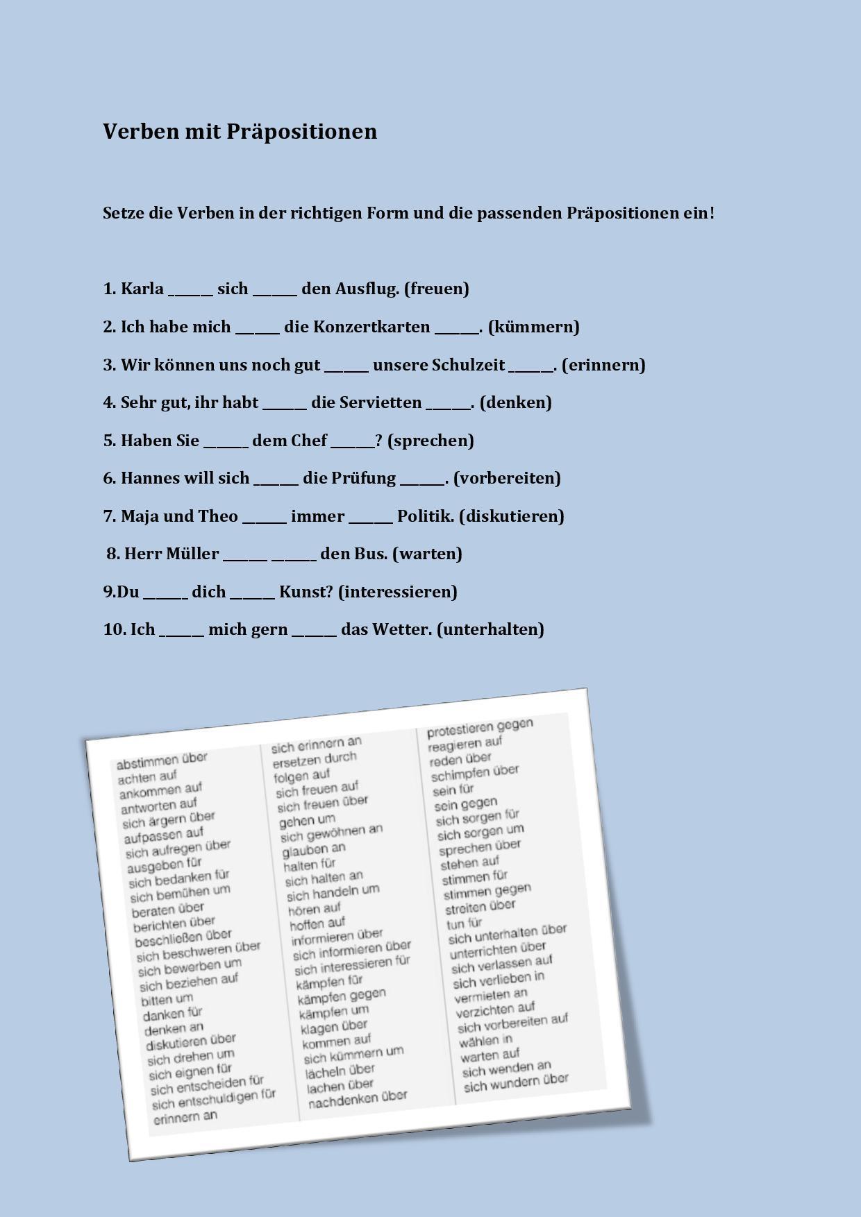 uig - Verben mit Präpositionen