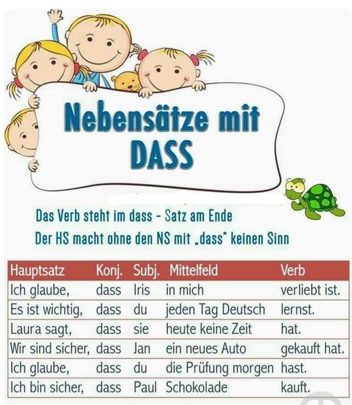 ghztrerzg - NEBENSÄTZE MIT DASS