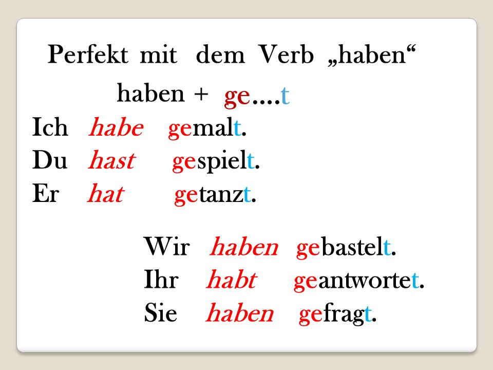 """cztvguh - Perfekt mit dem Verb """"haben"""" haben+ge….t"""