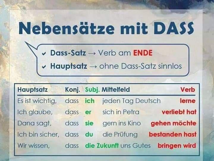 rxztcuzi - Nebensätze mit DASS