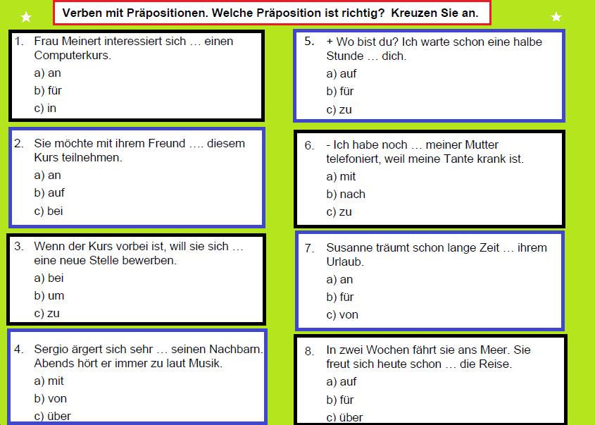 1212 - Verben mit Präpositionen. Welche Präposition ist richtig? Kreuzen Sie an.